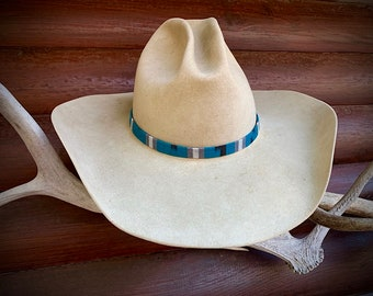 Turquoise hat band, cloth turquoise, black and white, adjustable leather ties, western retro fashion, boho hippie hat accessory, custom hats