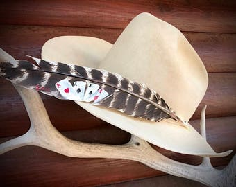 Custom cowboy hat feather hand painted, The Good Hand, four aces, playing cards