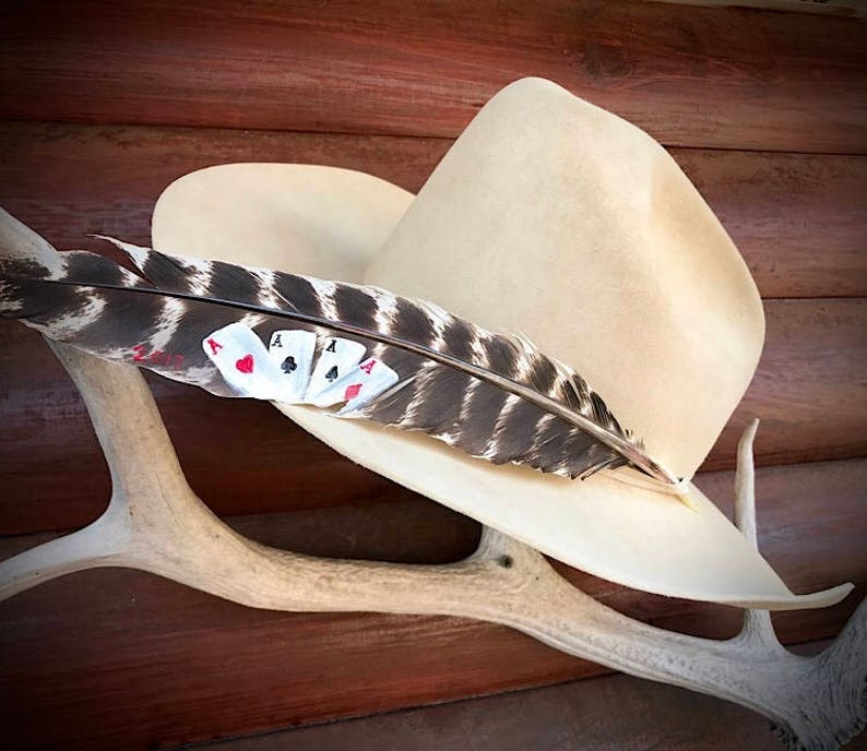 may be personalized The Good Hand Custom cowboy hat feather hand painted western retro cowboy playing cards four aces turkey feather