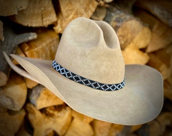 Black diamond beaded HAT BAND, black, silver, gray, white, adjustable stretch style beaded hat band, western, retro, boho hippie, handmade