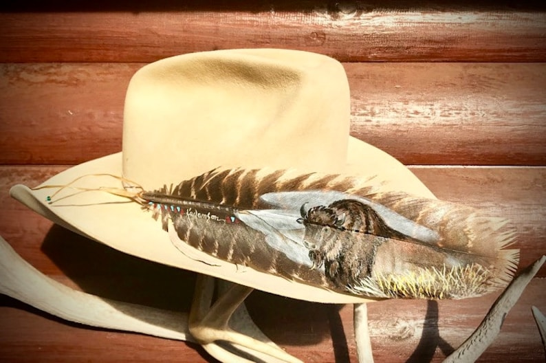 cowboy hat, western art native style buffalo feather art partial view hand painted bison wild turkey wing feather Custom hat feather