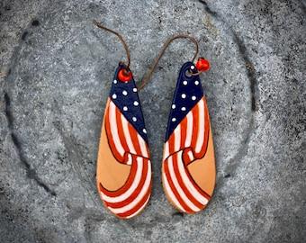 Handmade leather jewelry, earrings, American flag western cowgirl chic jewelry, retro boho western fashion, patriotic earrings, handmade