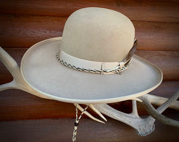 Featured listing image: Vintage Rands Custom Hatters felt hat, 7 1/8 size, 8X Beaver Plus, Gunfighter series, open crown, western hat with horsehair stampede string