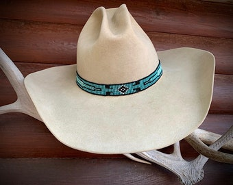 Turquoise beaded stretch HAT BAND, western cowboy hats, cowgirl hats, boho hippie fashion, turquoise, black and white, southwestern style
