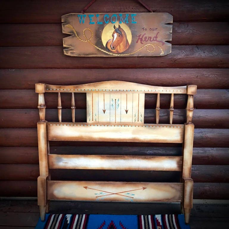 Vintage western twin bed, hand painted antique solid wood bed, Childrens western  Furniture - Vintage Western Twin Bed, Hand Painted Antique Solid Wood Bed