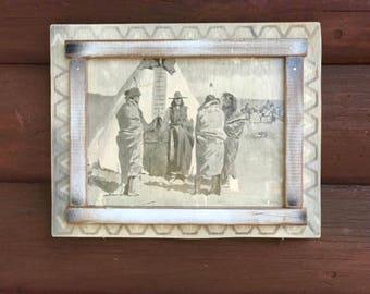 Vintage Frederic Remington print, Indians around Teepee, decoupaged salvaged print to wood