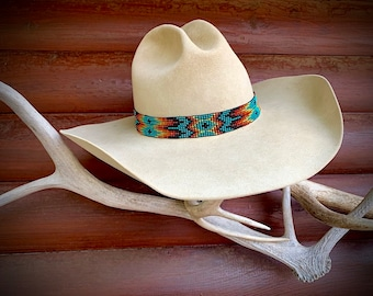 Beaded hat band, beadwork headband, New elastic stretch style, one size fits all, stretch to fit, beautiful turquoise, orange, green, red