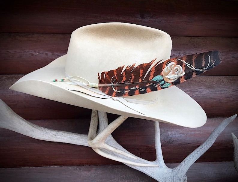 western retro fashion barbwire ecru rose Custom hat feather for women roses rust colored wing feather cowgirl ladies hat accessories
