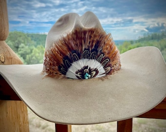 Feather CROWN hat band, beautiful bronze, rust and sorrel colored natural feather hat band with a cluster of turquoise nuggets , boho hippie