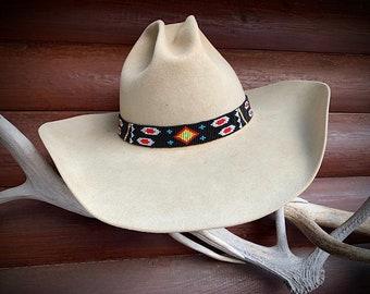 Black beaded hat band, western retro hat accessory, adjustable beaded hat band, western custom hat fashion, boho, hippie hat band, cowboy