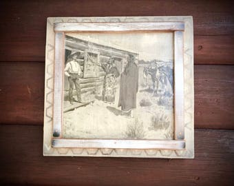 Vintage Frederic Remington print, decoupage to wood, Indian at sod farmer cabin, rustic western decor