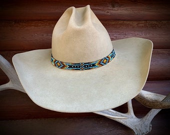 Beaded hat band, new colors, 5/8 wide, stretch beaded hat band, western retro ,boho hippie hat, steampunk hat, gypsy style, adjustable band