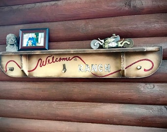 Vintage repurposed rustic shelf and coat hanger, hat rack, Welcome to the Ranch, retro, western decor, farmhouse decor, rustic home decor,
