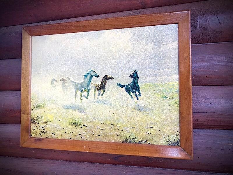 Western decor, August Albo print, vintage cherry wood frame, Free as ...