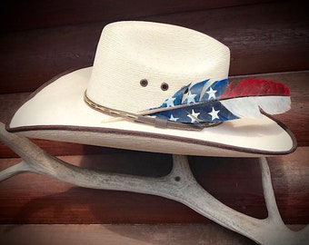Custom hat feather,small, american flag feather, cowboy hat feathers, cowgirl hat feathers, hand painted wild turkey wing feather, retro art