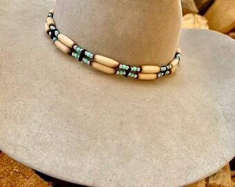 Bone and Turquoise HAT BAND, custom hat band, adjustable leather tie, western retro, boho hippie, rocker ,custom hat accessory, handmade