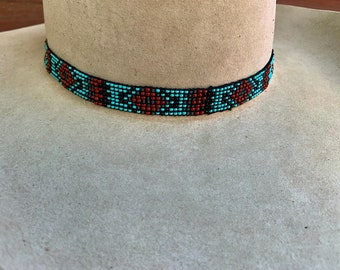 Beaded hat band, elastic stretch to fit style hat band, head band 1/2 to 5/8 inches wide, one size fits all. western, retro, boho , hippie