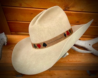 Handmade leather HAT BAND, natural leather with spade, club, diamond, heart black and red card suits, cowboy hat band, boho hippie hat, art