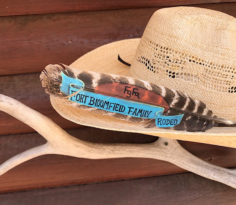cowboy hat feathers art custom designs personalized wholesale pricing for volume orders Custom award hat feathers awards hat feathers
