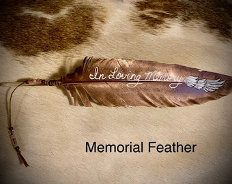 Rose Gold Memorial Hat feather, In Loving Memory with angel wing and personalized name or message, Hand painted, beaded sinew wind tie, art