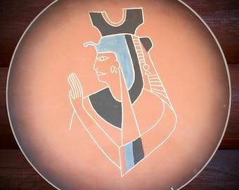 Vintage, E & S Handarbeit German pottery plates, 2 pc. set of 13 in. plates, egyptian, tribal, southwest decor,