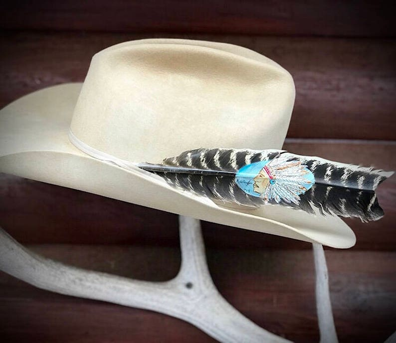 painted feather art boho Big Chief hand painted natural style turkey wing feather Custom cowboy hat feather western retro cowboy
