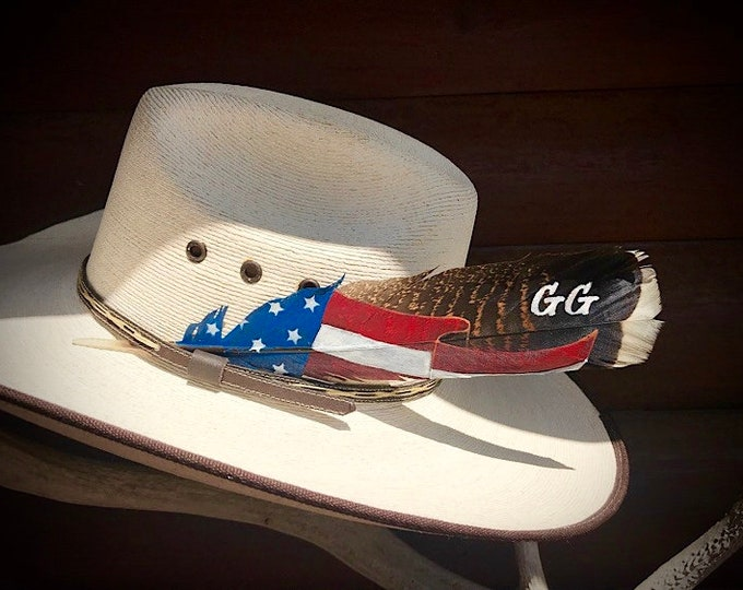 Featured listing image: American made hat feather, personalized your choice brand, initials or name, patriotic american feather, proudly waving, western tradition