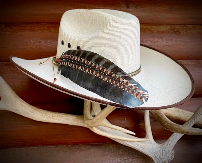 Western hat feather tan warm brown black wild turkey wing wing feather with rust