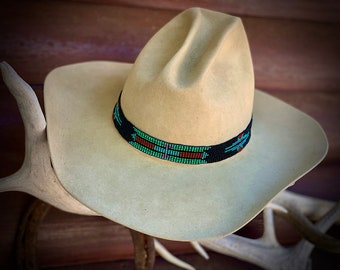 Beaded HAT BAND, Hat NOT Included, Stretch elastic style hat band, headband, boho hippie, western, retro fashion, turquoise and black, red