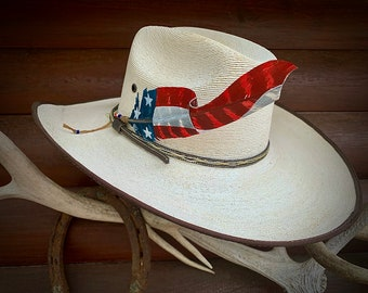 """New """"Cut out"""" style custom HAT FEATHER, Old Glory waves on! American cowboys and cowgirls, Made In USA, western retro fashion hat accessory"""
