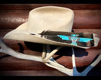 Custom hat feather, thunderbird art, hand painted wild turkey tail feather, by Kathy Adamson, cowboy and cowgirl hat feathers, retro western