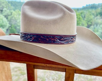 Tooled leather hat band, walnut brown, adjustable leather tie, western hat band, hat accessory, cowboy hat band, cowgirl, retro, handmade