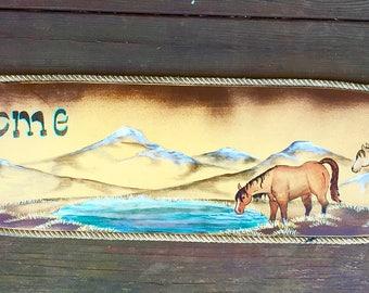 SALE Western art, lg. oval custom painted wood Welcome sign, rustic sign, rustic arrows, western horse scene, mountain scene, southwest art