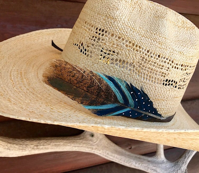 d5832eeb9594d Mini cowboy hat feather custom hat feather hand painted small