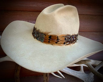 Retro western fashion feathered hat band, pheasant feather band, hat accessory, boho hippie hat, Made in USA, handmade, blue, brown, bronze