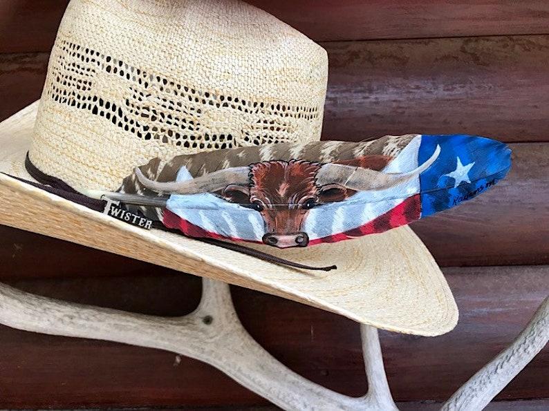 Custom cowboy hat feather longhorn steer and Texas flag  a634a423ebf