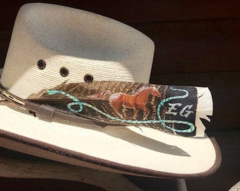 Custom hat feather, juvenile wild turkey tail feather, painted with running horse, western Lariat rope and your choice initials or brand