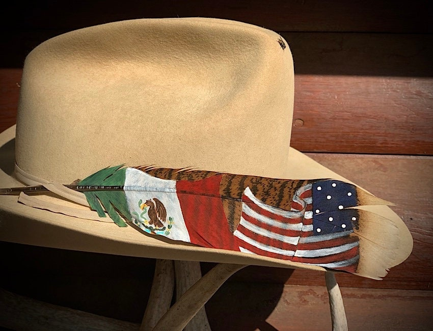 553fee77 NEW style Mexico and American flag cowboy hat feather, hand painted ...
