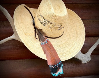 Custom cowboy hat feather, southwest, tribal colors, can be personalized with initials or brand, beautiful rust, brown and turquoise, turkey