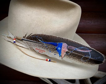 American West, custom hat feather, cowboy hat, cowgirl hat, western retro patriotic fashion, longhorn skull, red, white and blue, Americana