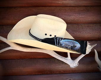 The ELK HUNTER custom hat feather, New western hunter feather, cowboy hat feather, western hat feather, mountains and aspens, bugling elk