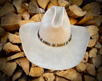 New Hat Band, Bone Turquoise and silver custom hat band, boho hippie hat, rocker, western retro, handmade made in USA, hickerbilly art