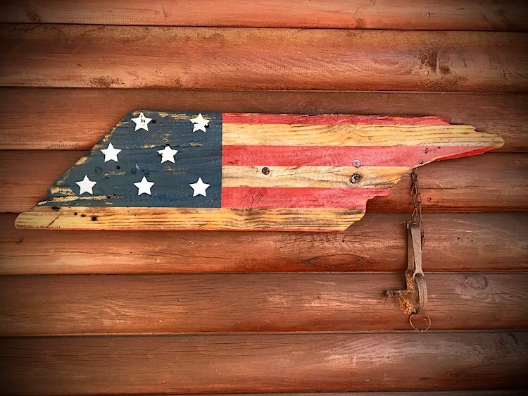 American Flag On Reclaimed Solid Wood Vintage Recycled Barn Patriotic Rustic Home Decor Country Farmhouse