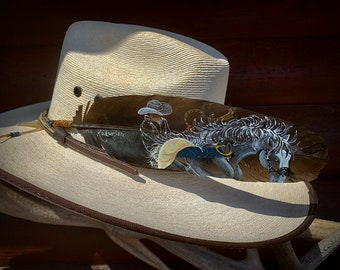 Ranch Bronc hand painted on RARE Spanish Black turkey feather, custom hat feather, working ranch rodeo cowboy hat feather, feather art