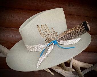 Vintage felt hat, 6 7/8, refurbished, cactus branded art, boho hippie, western retro fashion, custom cloth band and wild turkey tail feather