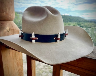 Wild West HAT BAND, Leather band for hat, western hat accessory as worn in movie Man with no Name, Clint Eastwood, cowboy, Hunters hat Band