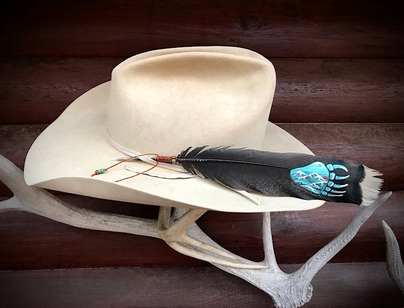 a148e0445b59e Custom hat feather hand painted Bear paw a native symbol of