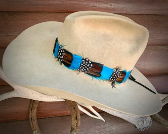 Western Retro fashion, handmade HAT BAND, hat Not Included, boho hippie hat accessory, vintage style, pheasant feather band,head Band, retro