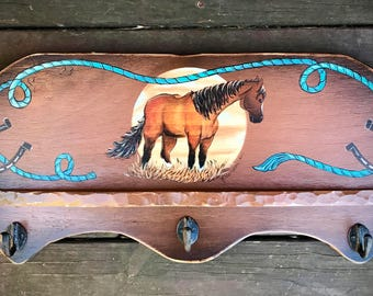 western decor, rustic coat rack, tack, bridle display, cowboy decor