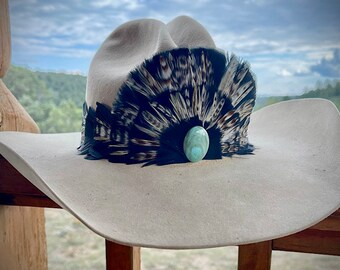 Feather Crown HAT BAND, with large cabochon Turquoise, classic western retro, hat accessory, black, gray,bronze,white hat band,feather crown